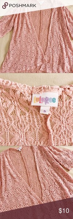 LuLaRoe Lace Shrug/Cover Up LuLaRoe light pink lace shrug! No holes in lace. Great condition. Perfect for a boho girly look! Size small. LuLaRoe Tops