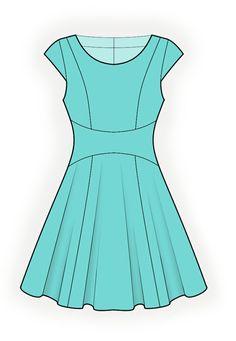 Vestido  - Patrón de costura #4345 Patrón de costura a medida de Lekala con descarga online gratuita. Entallado, Costura de corte princesa, Canesú, Waist seam, Almazuelas, Cremallera, Cuello redondo, Sin cuello, Mangas cortas, Mangas normales, A media pierna, Falda acampanada, Sin bolsillos