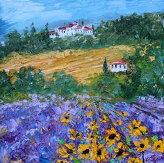 Original oil painting Sunflowers and Lavender by Karensfineart