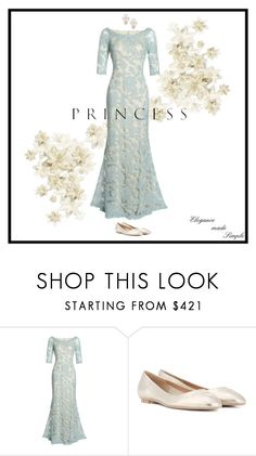 """Princess; elegance made simple"" by oliviasavita ❤ liked on Polyvore featuring Tadashi Shoji, Salvatore Ferragamo, Kate Spade, princess and gown"