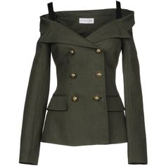 Faith Connexion Blazer (€355) ❤ liked on Polyvore featuring outerwear, jackets, blazers, military green, double-breasted blazers, linen jackets, collar jacket, faith connexion jacket and green army jacket