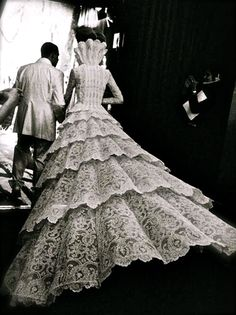 Alexander McQueen with his couture bride