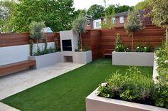 Modern garden design Chelsea London Diy Jardin, Jardin Decor, Patio Bench, Backyard Patio, Backyard Landscaping, London Garden, Modern Garden Design, Outdoor Living, Outdoor Decor