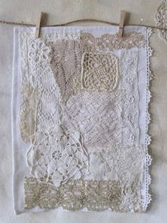 Patchwork using scraps lace / doilies