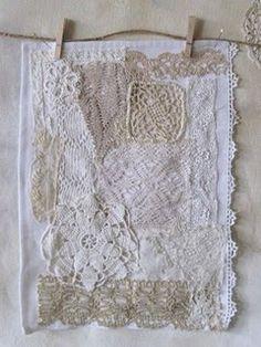Patchwork using scraps lace / doilies