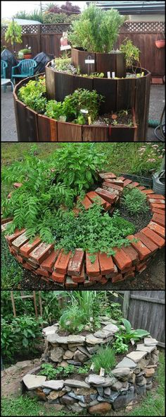 DIY Spiral Herb Garden -- the perfect garden for small outdoor spaces!  http://theownerbuildernetwork.co/easy-diy-projects/diy-spiral-herb-garden/  A spiral is an ideal of way of maximizing space in your garden. You can grow a large quantity of garden produce in a very compact structure. It's easy to make and easy to fit into an ideal location in your garden.