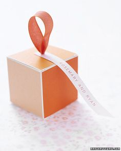 Orange Color Block Favor Box - Origami paper in shades of orange and an understated tag create a stylish favor.