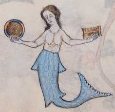 Bibliothèque Nationale de France, lat. 10448, Folio 119r A rosy-cheeked sire, with fish tail and possibly wings, enchants three horrified sailors, one apparently praying for deliverance. - Medieval Bestiary : Mermaid