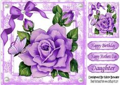 Pretty purple painted roses butterflies with bow 8x8 on Craftsuprint - Add To Basket!