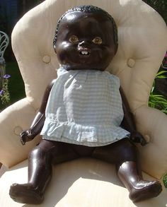 VERY CUTE OLD BLACK COMPOSITION DOLL MUST SEE |