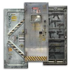 A set of removable decals sized to stick on a door can turn your bedroom, dorm room, or bathroom into a door straight out of a movie set. The Sci-Fi Door Decals come in three full-color designs: Airlock, Laboratory, and Armory. Bunker, Sci Fi Movies, Steel Doors, Entrance, Door Entry, Door Wall, Game Room, Man Cave, Locker Storage