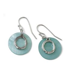 Hammered rings of polished silver float serenely in pools of genuine aqua mother-of-pearl in our Out to Sea earrings.
