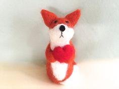 Fox Valenitne gift ideas valentine's day gift heart by Felt4Soul