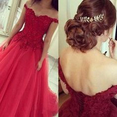 Off the shoulder prom dress, lace prom dress, red prom dress