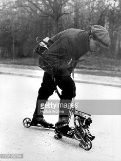 Mercier, inventor of the  motor-driven roller skat  FRANCE - CIRCA 1912:  Mercier, inventor of the  motor-driven roller skates. 1912.