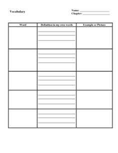 Printables Blank Vocabulary Worksheet words student centered resources and graphics on pinterest this is a generic blank vocabulary chart worksheet or graphic organizer that can