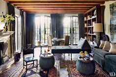 dam images decor 2014 09 moroccan rugs moroccan rugs decorating 01 mexico living room Designers Andrew Fisher and Jeffry Weisman used two antique Moroccan rugs in the living room of their Mexican retreat.