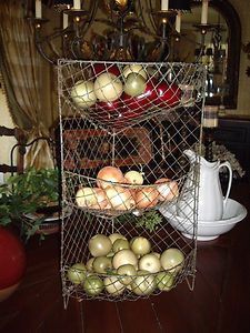 ANTIQUE FRENCH WIRE TIERED BASKET~FRUIT /VEGETABLE BIN~1900s