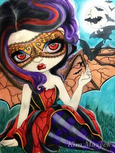 ✨Pipistrello✨ Book: Jasmine Becket-Groffith's A Fantasy Art Adventure Color Book I used: Caran dAche Supracolor, Caran dAche Luminance , Caran dAche Museum, and Rembrandt (background) Gothic Fantasy Art, Gothic Fairy, Fairy Pictures, Fantasy Pictures, Gothic Artwork, Mythical Dragons, Caran D'ache, Kawaii Doodles, Mermaid Coloring