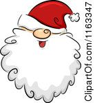 Cartoon of a Happy Bearded Santa Face with His Hat over His Eyes - Royalty Free Vector Clipart by BNP Design Studio