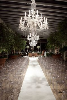 Breathtaking wedding ceremony setting ~ Modern meets Old World ~~ Exquisite crystal chandeliers with the elusive Philippe Starck Ghost Chairs! Wedding Ceremony Ideas, Wedding Events, Wedding Photos, Ceremony Seating, Wedding Ceremonies, Perfect Wedding, Dream Wedding, Wedding Day, Chic Wedding