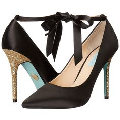Blue by Betsey Johnson Bri (Black Satin) High Heels ($109) ❤ liked on Polyvore featuring shoes, pumps, black pointed toe pumps, high heel stilettos, pointy toe pumps, glitter black pumps and black shoes