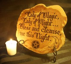 Divine Pagan/Wiccan wall or altar decorative tile. Crafted and burned onto Eastern Red Cedar wood. Can be hung or displayed in many ways.