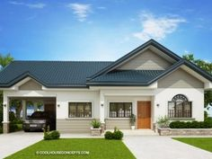 Home design plan with 3 Bedrooms.House description:One Car Parking and gardenGround Level: Living room, Dining room, Kitchen, backyard, storage Bungalow Haus Design, Modern Bungalow House, Bungalow House Plans, Tiny House, Rest House, Minimalist House Design, Small House Design, Modern House Design, Single Storey House Plans