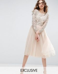 Needle and Thread Long Sleeve Embroidered Midi Dress