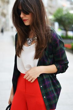 bright red trousers (or a pencil skirt!), white blouse, open plaid shirt