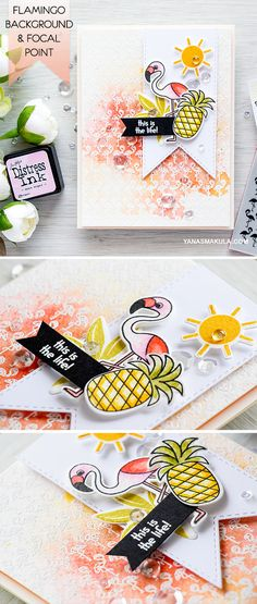 Create a fun tropical card with a flamingo background and focal point. Use a bit of watercolor for a messy look. For details, visit http://www.yanasmakula.com/?p=54563