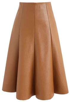 Modern Essential Faux Leather A-line Skirt in Camel - New Arrivals - Retro, Indie and Unique Fashion