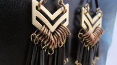 Fringe Chevron Earrings with Black Beads