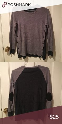J. Crew sweater w/ elbow pads I think the elbow pads are my favorite detail. This is a gently used sweater and there is significant pilling on the lower back left side. 45% viscose 24% wool 23% nylon 8% rabbit J. Crew Sweaters Crew & Scoop Necks