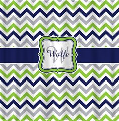 Shower Curtain - Multi Color Lime, Navy, Gray and White - Accent Any colors of your choice on Etsy, $78.00