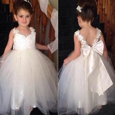 Hot Sale Popular Ivory Flower Girl Dresses Ivory Strap Lace Top Cute Tulle V- Back Flower Girl Dresses, Little Girl Dresses, Pretty Flower Girl Dresses, Tulle Flower Girl, Tulle Flowers, Little Girl Dresses, Girls Dresses, Dress Girl, Flower Dresses, Beautiful Dresses, Tulle Dress