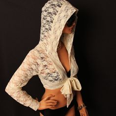 Cream lace cropped hood shrug with bow tie by MIRIMIRIFASHION, $45.00