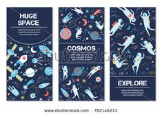 vector banners on space theme. Symbols and design elements