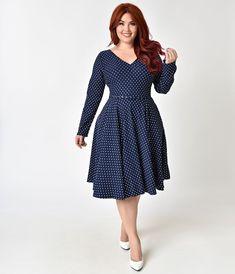 bd0b40758e6 Unique Vintage Plus Size 1950s Navy   White Dotted Long Sleeve Maude Swing  Dress