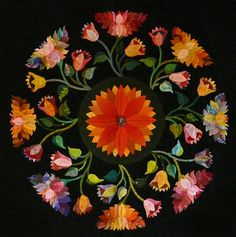 """Oriental Poppies"" quilt by Janet Baker"