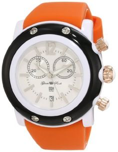 Glam Rock Women's GD1111-DMC Miami Beach Chronograph White Dial Orange Silicone Watch Glam Rock. $169.00. White dial with silver tone hands, hour markers and arabic numeral 12; luminous; white bezel; stainless steel crown and pushers with white cabochon. Water-resistant to 100 M (330 feet). Mineral crystal sapphire coated; white resin case; black case cover with 4 stainless steel screws; orange silicone strap. Chronograph functions with 60 second, 30 minute subdials; d...