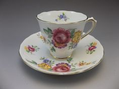 Chelsea English Bone China Demitasse Tea Cup and Saucer Set Pink Roses Flowers #Chelsea