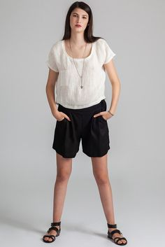 The Galiano is a relaxed fit mid thigh elastic waist short with flat front, pleats and pockets. Made in Vancouver, Canada by eco-fashion label Pillar. Ethical Clothing, Ethical Fashion, Fashion Labels, Slow Fashion, Vancouver, Must Haves, Elastic Waist, Thighs, Casual Shorts