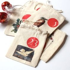 Free template and easy step-by-step tutorial for creating an advent calendar by ironing cute vintage images onto small bags.