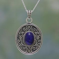 pearls gift for her statement Thai silver sterling silver Labradorite cabochon pendant necklace Indian filigree silver lapis lazuli