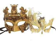 MATCHING COUPLE LOVER GOLD HERCULES & SWAN VENETIAN MASQUERADE MASK  #MasqueradeMask