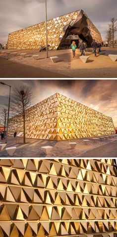 Gold triangular panels positioned at various angles give this building, designed for gold dealer and goldsmiths, a shimmering, reflective facade.
