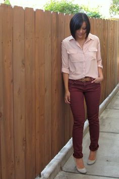 Putting Me Together: maroon pants outfit