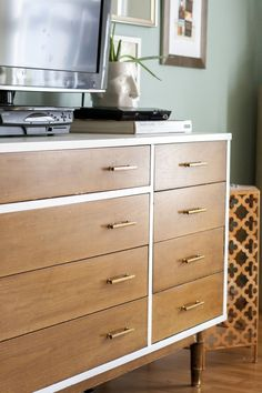 Two-tone refinished mid-century dresser Painted Furniture, Diy Furniture, Two Tone Dresser, Mid Century Dresser, Furniture Inspiration, Staging, Master Bedroom, Sweet Home, Crafty