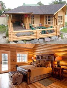 I'd love to have a small cabin either in a location like Colorado or somewhere like Yellowstone. Tyni House, Tiny House Cabin, Tiny House Plans, Tiny House Design, Log Cabin Living, Log Cabin Homes, Log Cabins, Bamboo House, Cabins And Cottages
